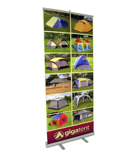 A custom-printed retractable banner